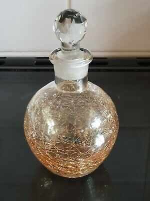 Vintage Gold Crackle Glass Perfume Scent Bottle With Stopper  • 9.99£