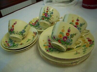 Crown Staffordshire China Hollyhocks & Butterfly, Cups Saucers & Plates • 12.90£