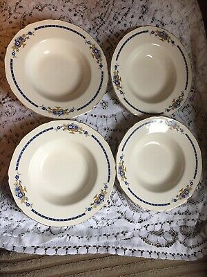 Grindley Vintage Blue & Yellow On Cream Soup Bowls • 7.99£