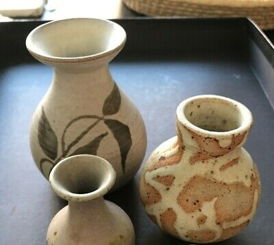 Joblot 3 X Small Ceramic Vases. Country Style. Farmhouse Style. Natural Colours. • 6£