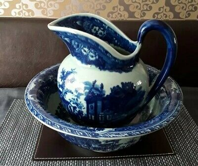 Beautiful Vintage Large Victoria Ware Ironstone Flow Blue Style Pitcher An Bowl  • 60£
