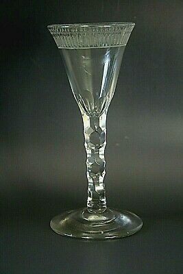 Georgian Lead Glass With Faced Stem And Engraved Bowl • 59£