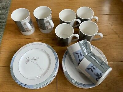 Marks & Spencer Thai Fields - 6 Cups, Saucers, S/Plates  2 Mugs Super Fine China • 14.99£