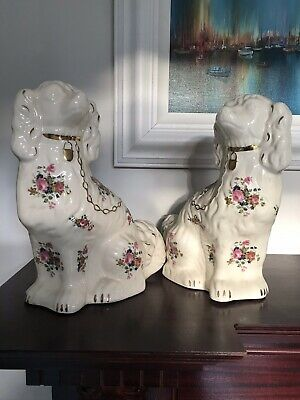 Pair Staffordshire China Dogs 'Wally Dugs' 30cm • 22£