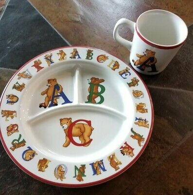 Tiffany & Co Alphabet Bears Cup & Divided Plate Dish Set 1994 Baby Shower Gift • 16.92£