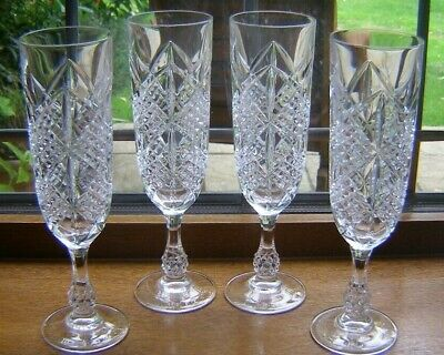 Beautiful Set 4 Heavy Vintage Cut Glass Crystal Champagne Flutes/glasses 7 5/8  • 27.99£