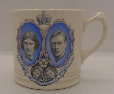 Wedgwood 1937 King George V1 Coronation Mug - With Both Princesses. • 12£