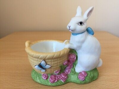 The Franklin Mint Forest Friends Hand Painted White Rabbit Egg Cup 1986 VGC • 3.70£