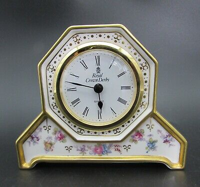 ROYAL ANTOINETTE Crown Derby DRESSING TABLE CLOCK 1st Quality • 85£