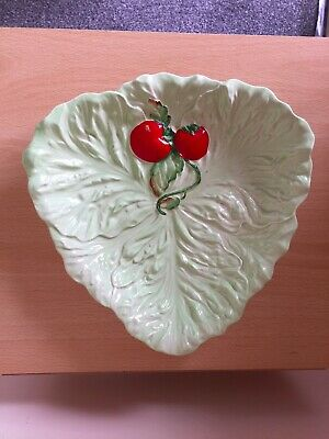 "Carltonware Tomato Leaf Dish Serving Plate Hand Painted 9.5"" D Australian Design • 4.70£"