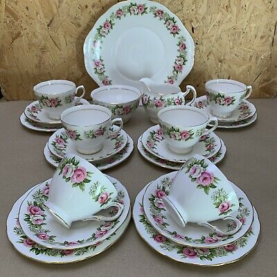 Vintage Colclough Enchantment Pink Roses China Tea Trio Set - Plates Cups Jug • 14.99£