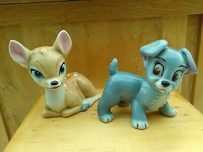 Wade Disney Scamp And Bambi Blow Up Figurines 1960's • 45.95£