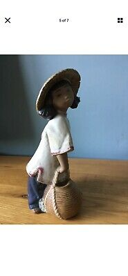 Lladro Figurine A Beautiful Chinese  Girl Carrying Water In Baskets Made In 1985 • 15£