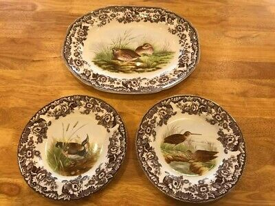 Spode Woodland Dinner Plates And Serving Plate • 5.20£
