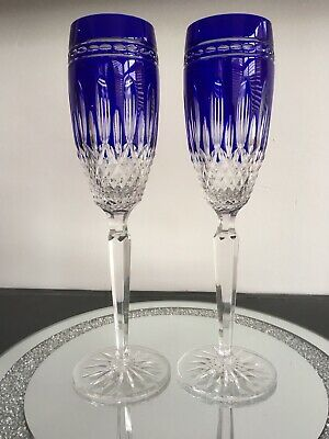 Waterford Clarendon Cobalt Stunning Pair Of 9¾  Champagne Flutes • 80£