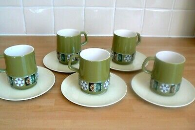 5 Vintage Carlton Ware Tapestry Coffee Cups And Saucers - Green  • 2.99£