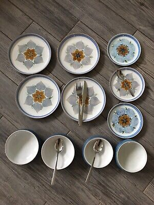 Denby 11 Peice Dinner Set Immaculate Condition 4 Plates 3 Saucers 4 Bowls • 35£