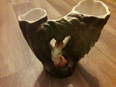 Eastgate Fauna, Double Tree Vase With Rabbit, Model 74, 1950-60's. • 8£