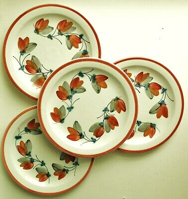 Vintage Iden Rye Studio Pottery - Set Of 4 Small Plates (6.25 ) - Hand-Painted   • 3.50£