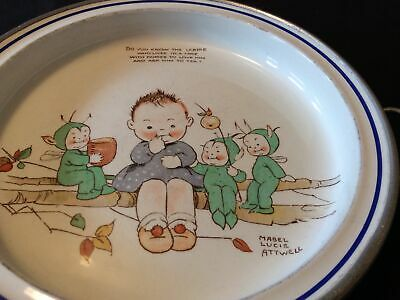 Vintage Nursery Ware ~Mabel Lucie Attwell~Warming Plate Child's Fairies Pixies • 28£