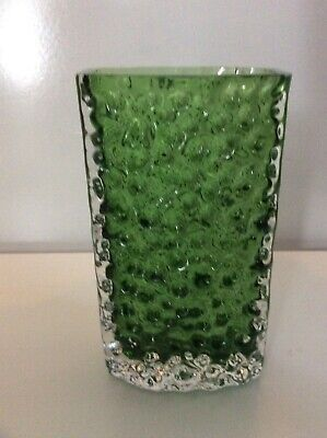 Vintage Whitefriars Bow Fronted Nailhead Vase In Meadow Green 9762 • 79.99£