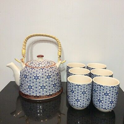 Stylish Blue And White Chinese Tea Set Six Cups Tea Pot Bamboo Handle Excellent • 18£