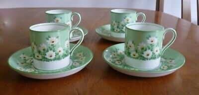 Antique  Crown Staffordshire Bone China Coffee Cups Saucers Set Daisy 13722  • 24.99£