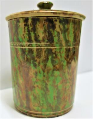Antique C1900's Scottish Stoneware Mottled LIDDED JAR / TEA CADDY / TOBACCO JAR • 24.99£