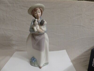 Nao By Lladro - Girl With Two Puppies Figure - Perfect Condition • 7£