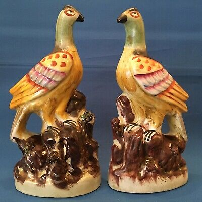 Victorian Pair Of Staffordshire Pheasants Bird Pottery Figurines Excellent • 125£