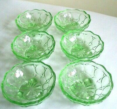 6 X Sowerby Oxford Perfect Vintage Art Deco Green Glass 3 Footed Dessert Bowls • 24£