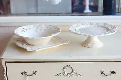 Vintage St Michael Florentine Cream Cake Stand Bowl And Serving Plate • 24.99£