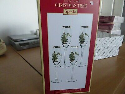BNWT Spode Christmas Tree Champagne  Glasses X 4 • 15£
