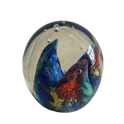 Art Glass Paperweight 3 Points Blue Green Yellow Red Oval Egg Bubbles Unsigned • 17.99£