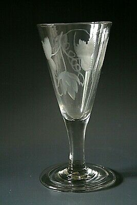 18th Century Ale Glass With Engraved Bowl And Folded Foot  • 39£