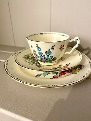 Crown Staffordshire Handpainted HOLLYHOCK Tea Trio Cup Saucer Side Plate Pan Des • 19.99£