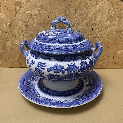 Copeland Late Spode Willow Pattern Footed Tureen Vegetable Dish - Blue & White • 9.99£