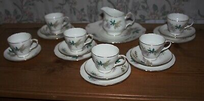 Duchess Louise Tea Set Of 5 Trios, One Duo Milk Bowl And Cake Plate... • 24.99£