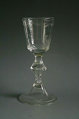 18th Century Burgundy Glass With Engraved Bowl And Folded Foot • 79£