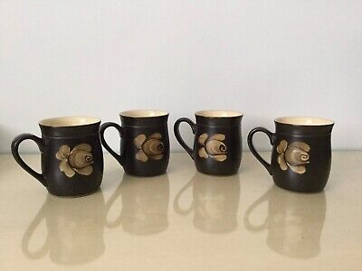 4 Vintage Denby Stoneware Bakewell Design Mugs Mint Condition • 19.05£