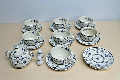 Furnivals Masons BLUE DENMARK TEA SET SUGAR POT, 10 X TEA CUPS, 10 X  SAUCERS  • 149.99£