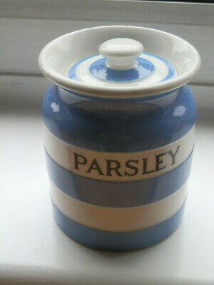 Scarce TG Green Church Gresley Blue & White Band Cornishware Parsley Herb Jar  • 31£