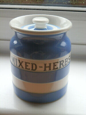 Scarce TG Green Church Gresley Blue & White Band Cornishware Mixed Herbs  Jar  • 29.95£