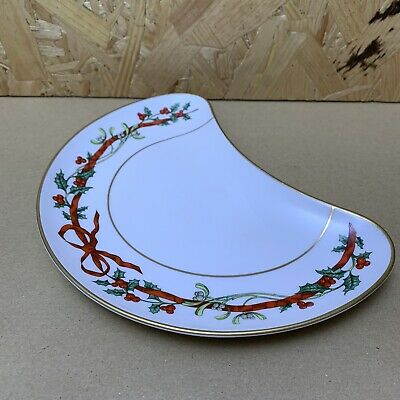 Royal Worcester Christmas Holly Ribbons Crescent Dish Serving Bowl • 4.99£