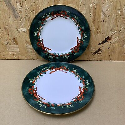 2 X Royal Worcester Christmas Holly Ribbons Green Salad Dessert Plate 20.5cm Dia • 4.99£