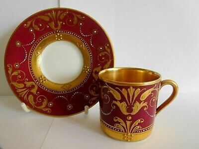 Antique Art Nouveau German Fraureuth Demi Tasse Cup And Saucer With Jewelling • 65£