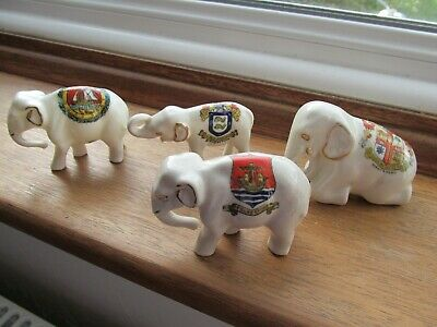 4 Crested Ware Elephants,2 Willow Art • 4£