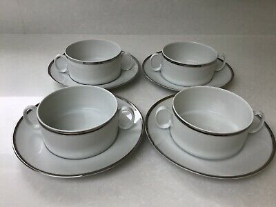 Thomas China Germany Medaillon Wide Platinum Band - Soup Coupe & Saucer • 9.99£