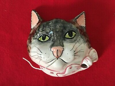Vintage Babbacombe Pottery Tabby Cat Hanging String & Scissor Dispencer • 10£