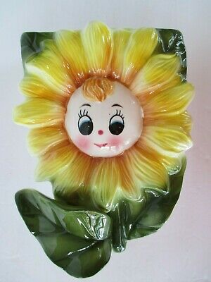 Anthropomorphic Yellow Flower Wall Pocket Ceramic Face 1950's Japan Excellent • 19.09£